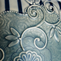 Pillow tile detail Cornflower blue floral