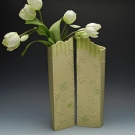 Yellow pear screen vase pair