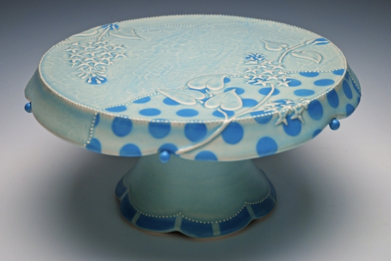 Kristen Kieffer Cake stand dots w. lilacs