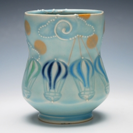 Kristen Kieffer Yunomi w. balloon stamps in Frost w. Tangerine polka dots and Mishima detail