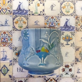 Kristen Kieffer Delft-inspired fruit bowl stamped cup