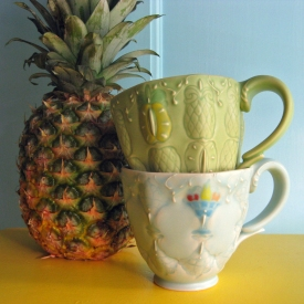 Kristen Kieffer Pineapple and Fruit bowl stamped cups