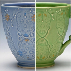 Kristen Kieffer Skull mugs, Gal and Guy