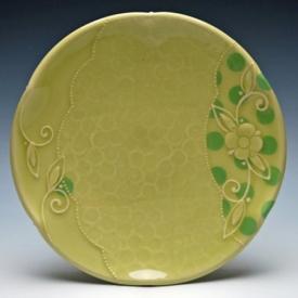 Kristen Kieffer plate in Pear w. lime polka dots