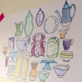 Kristen Kieffer's pots as contour drawings, studio