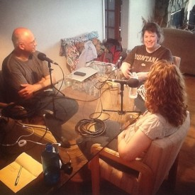 Taping the Tales of a Red Clay Rambler podcast w. Michael Kline (l), Julia Galloway (m), and Kristen Kieffer (r)