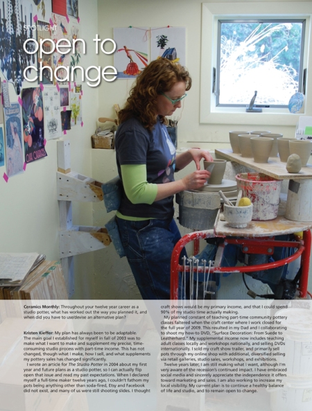 Kristen Kieffer Spotlight Ceramics Monthly Summer Working Potter issue 2015