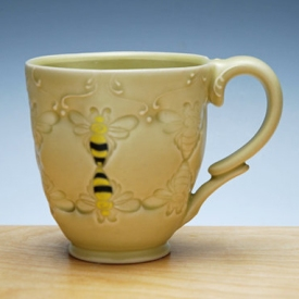 Kristen Kieffer stamped honey bee pollinator cup