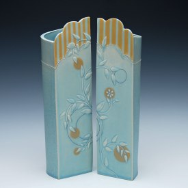 Screen vase pair by Kristen Kieffer