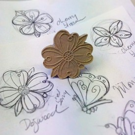 Kristen Kieffer dogwood stamp and sketches