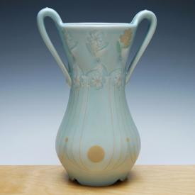 Kristen Kieffer Handled vase in Frost w. tangerine detail